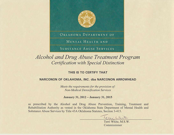 Alchohol and Drug Abuse Treatment Program Certification