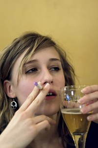 teenage girl dulled by alcohol and drugs